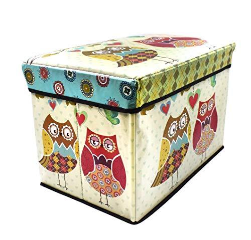 FunBlast Multi-Functional Folding Storage Ottoman Box Organizer Cum Stool with Seat Cushion, Storage Boxes for Toys for Kids (Owl)