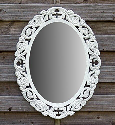 amadeco Wandspiegel Spiegel Oval Barock Gothic als Badspiegel Frisierspiegel Schminkspiegel - Farbe Weiß - aus Holz - LandhausStil Vintage Shabby Chic Stil - Antiklook - 46x58cm