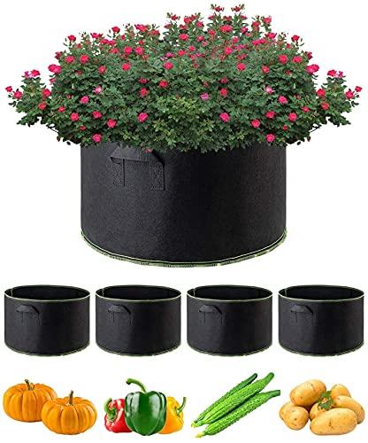 ZHJIUXINGBT Durevole 4 Pack 15 Gallon Grow Bags Vasi per Piante Contenitori per Piante con Maniglie, Aerazione Addensata in Tessuto Non Tessuto Resistente