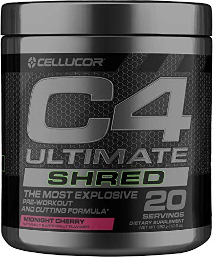 Cellucor C4 Ultimate Shred Pre Workout Powder, Fat Burner for Men & Women, Weight Loss Supplement with Ginger Root Extract, Midnight Cherry, 20 Servings