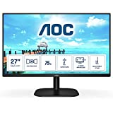 AOC 27B2H - Monitor para PC de 27 pulgadas Full HD 75Hz (1920x1080, IPS, Mega Infinity DCR, Flickerfree, LowBlue Light, VESA, D-SUB, HDMI), Negro