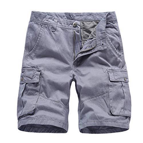 GreatestPAK Herren Pocket Kurze Hosen Lässig Einfarbig Straight Slim Fit Hosen Jeans Tooling Multi-Pocket Lose Shorts,Grau,EU:XL(Tag:36)