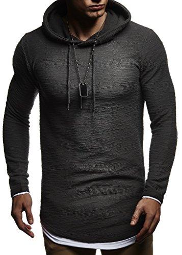 Leif Nelson Męska bluza z kapturem Slim Fit, zawartość bawełny, nowoczesna biała męska bluza z kapturem, długi rękaw, męska czarna bluza z kapturem LN8120