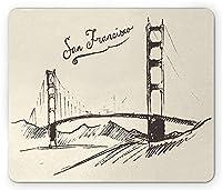 アメリカおしゃれ防傷マウスパッド、サンフランシスコブリッジシンプルクラシックヴィンテージ刻まれたスケッチアートスタイルイラスト、標準サイズの長方形滑り止めラバーおしゃれ防傷マウスパッド、クリームブラウン