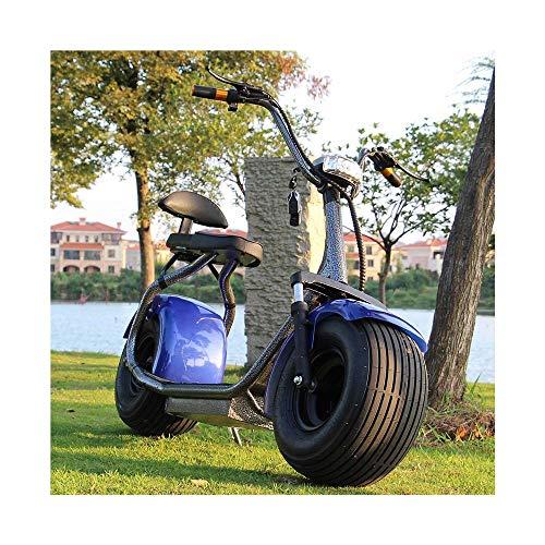 WMZX Elektroauto 60V Erwachsene Anti-Diebstahl-Batterie Auto Scooter Double-Pass-Lithium-Elektroroller Home Travel schnell und bequem (Color : Blue, Size : 175X75X120CM)
