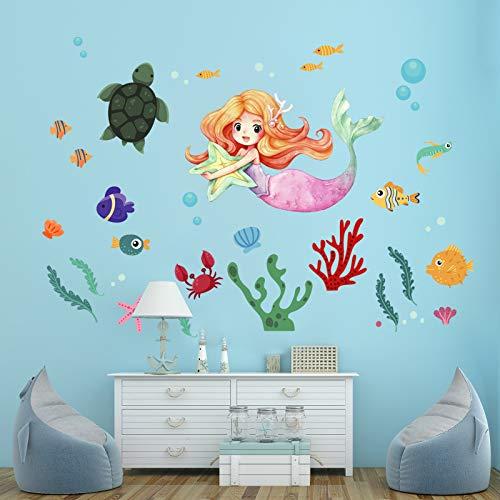 onetoze Pegatinas de Pared Sirena Vinilos Decorativos Princesa Submarino Adhesivos Mundo Decorativos Habitacion Niñas Bebés Infantiles Niños Guardería Dormitorio Salón, 116x168cm