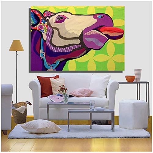 Cabeza de vaca Animal Painting Canvas Prints Wall Art Pictures para dormitorio...