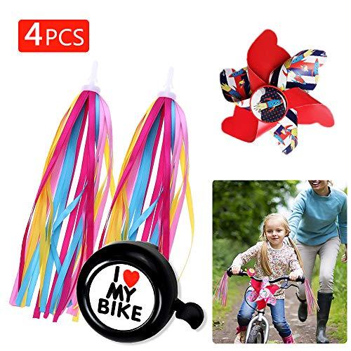 VIGVOG 2 Pack Bike Handlebar Streamers, 1 Pack Kid Bike Bell and 1 Pack Bike Pinwheel for Boys Tricycle Bike Accessory