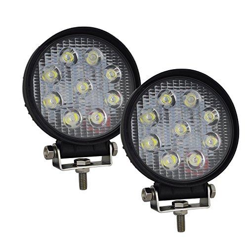 AUXTINGS 2 piezas 4 pulgadas 27W antiniebla de trabajo LED de lámpara de conducción para el camión barco Off-Road luz del punto luz de inundación, 12V 24V