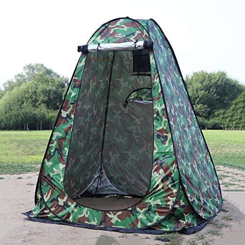 WOWCASE - Tienda de campaña para 1 – 2 personas con gran espacio para ducha emergente con 3 ventanas, vestidor portátil al aire libre, tienda de campaña de ducha de privacidad para camping, playa, aislamiento de pesca (camuflaje, 1,5 x 1,5 x 1,9 m)