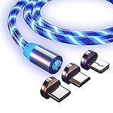 Lot de 3 câbles de charge magnétiques avec lumière LED visible - Cordon lumineux 3 en 1 -...