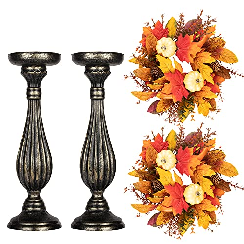 KI Store Candle Holder with Small Fall Wreath Set of 4 Autumn Decorations Wooden Antique Finish Pillar Candle Holder Sticks Small Wreath for Fall Thanksgiving Fireplace Mantel Table Centerpieces Decor
