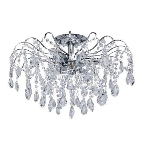 Elegante kompakte Deckenleuchte 6 flammig nickelfarbiges Metall Kristall klar Modern indirektes Licht Lichtspiel Wohnzimmer Schlafzimmer Restaurant Flur exkl.6 * 60W E14