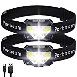 Parboom Headlamp, 2 Pack USB Rechargeable Headlamp, Waterproof, Suitable for Outdoor Running, Camping, Hiking and Fishing, Headlamps with Motion Sensor for Adults, Kids