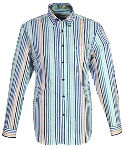 Gabicci Herren Lange Ärmel Shirt g34W06Calypso Gr. Medium, Green, Beige, Blue