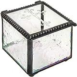 Cross Glass Box First Communion Gift Catholic Rosary Case Religious Keepsake Jewelry Trinket Christian RCIA J Devlin Box 709 Clear