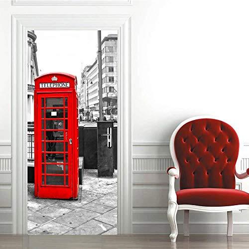 BXZGDJY 3D deursticker deurbeeld telefooncel 77 x 200 cm deurbehang zelfklevend deurposter, zelfklevende 3D deurraam-behang-aftrekplaatjes, verwijderbare deur decoratieve plakfolie voor doe-het-zelvers