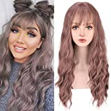 YOGFIT Long Wavy Grey Pink Wig with Air Bangs Silky Full Heat Resistant Synthetic Wig for Women Natural Looking Heat Resistant Fiber Hair