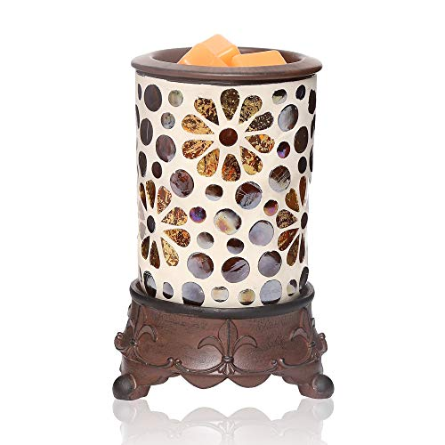 kobodon Handcrafted Mosaic Glass Electric Wax Melt Warmer,Fragrance Warmer Nightlamp,Use Cubes Wax Essential Oils,for Home Gifts Aromatherapy Spa Décor Bedroom Kitchen, Wedding, Spa and Aromatherapy.