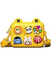 ショルダーバッグ キッズ 男の子 女の子 DIYバッグ クロスボディバッグ (黄色)収納バッグ DIY漫画デコレーション