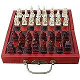 HAOT Ajedrez Internacional Juego de Mesa de ajedrez Chino Antiguo Plegable de tamaño pequeño Juego de Piezas de ajedrez de Madera