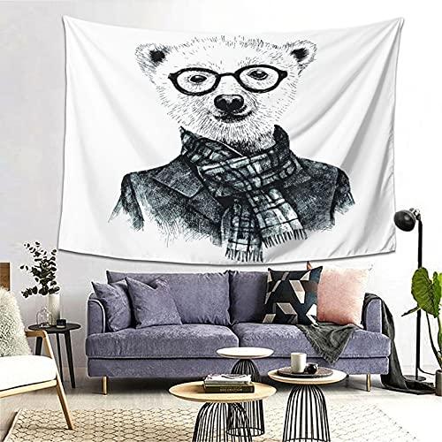 PATINISA Tapiz de Regalo,Dibujado a Mano Disfrazado de Oso Hipster con Gafas,Tapiz Bohemio diseo para Colgar en la Pared,Sala de Estar Dormitorio 60x51in