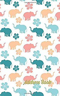 """Address book: Elephant lovers design 5""""x8"""" Small pocket size 120 pages with internet Password , Birthdays & Address Book f..."""