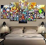 Cuadro en Lienzo 5 Partes Dragon Ball Super Anime Poster Pinturas...