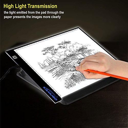 Tracing Light Box for Drawing w Stand, A4 Ultra-Thin Portable LED Drawing Board Tracer Lighting Pad w 3 Level Brightness USB Powered for Artists Drawing Sketching Animation