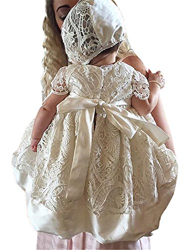 Aorme White Lace Christening Gowns for Girls Baptism Dress 0-24 Months