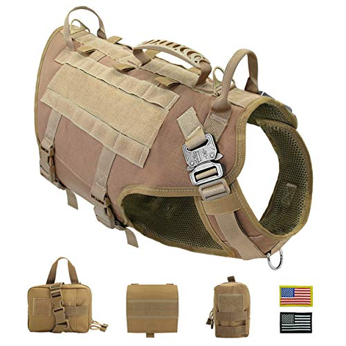 PET ARTIST Tactical Dog Harness for Hiking Training, No Pull Vest Harness for Medium Large Dogs, with Pouches and Patches