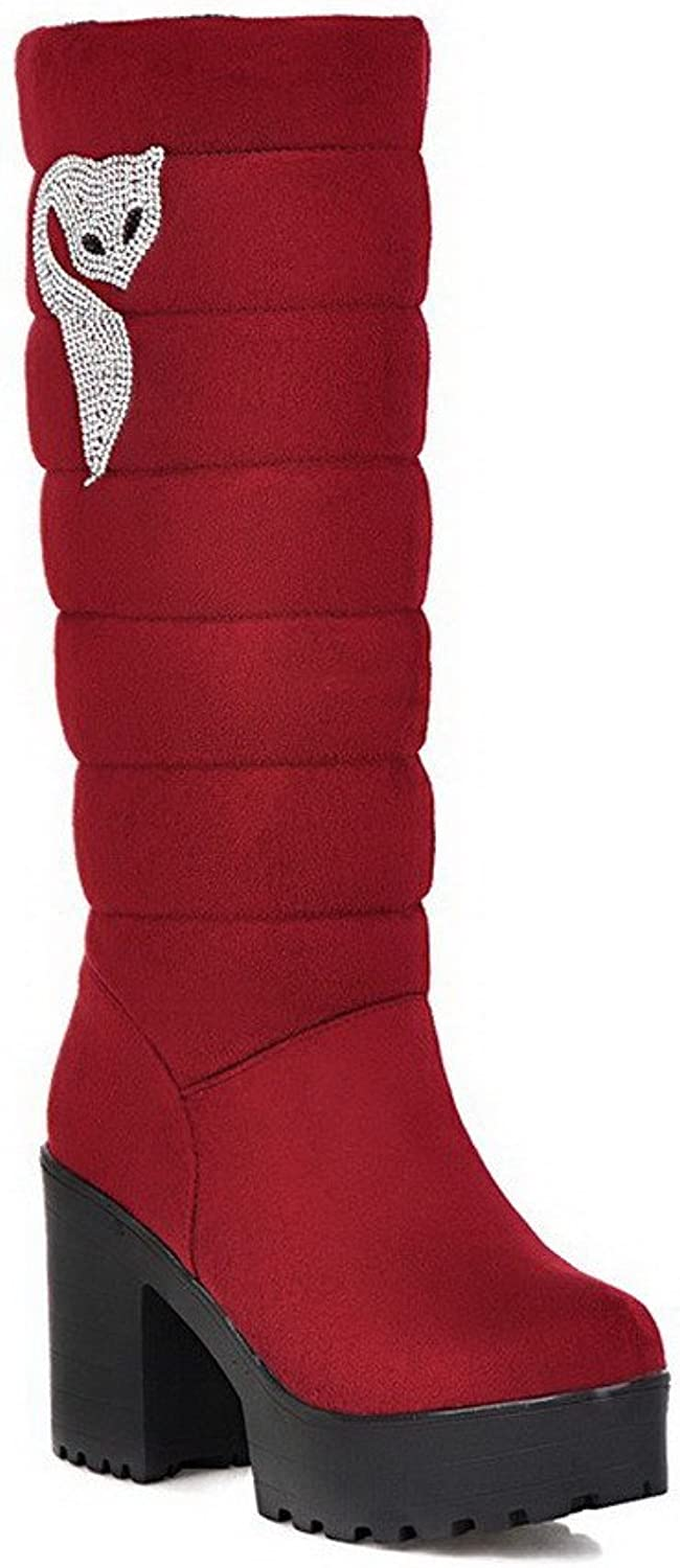 WeenFashion Women's Imitated Suede High-Heels Round-Toe Boots with Chunky Heels and Platform