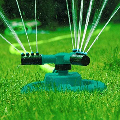 Aspersor de agua para jardín, automático, para el césped, gira 360grados, sistema de aspersión con 3brazos giratorios