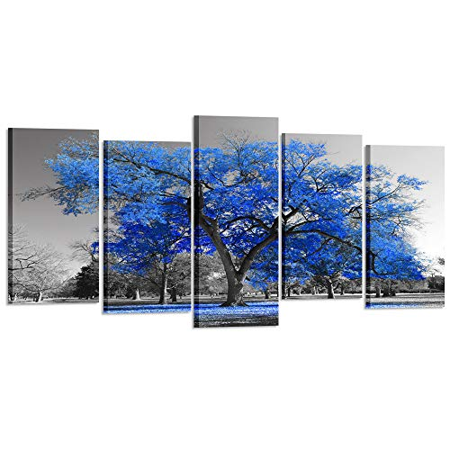 Kreative Arts Canvas Print Wall Art Painting Contemporary Blue Tree in Black and White Style Fall Landscape Picture Modern Giclee Stretched and Framed Artwork (XLarge Size 80x40inch)