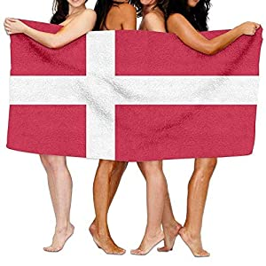 Bath Towels Ultra Soft Super Absorbent and Quick Dry Swimming Travel Sports Beach Towel Washcloth Flag of Denmark 130X80cm