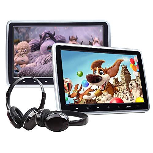 EONON ヘッドレストモニター DVDプレーヤー 後席モニター 10.1インチ 2台セット 車載用 ワイヤレスヘッドホン付き (C1100AJ) HDMI 1024*600 タッチボタン操作 USB SDカード対応 スピーカー内蔵