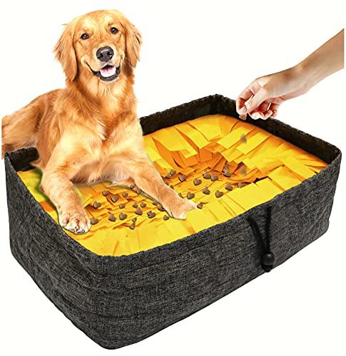 TNFUU Alfombra olfativa para Perros, Alfombra de Entrenamiento de Comida, Juguete Interactivo Lavable y Plegable Que estimula la búsqueda Natural de Comida (Amarillo, con Forma Cuadrada)
