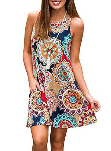 Yidarton Sommerkleider Damen Casual Ärmellos Rundhals Strandkleider Blumen Bedrucktes Trägerkleid Kurz Kleider mit Taschen (Marine, L)