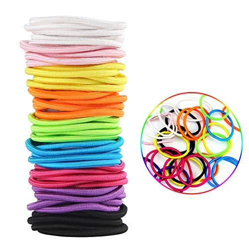 Facai Elastics Hair Ties 45Pcs Rainbow Ponytail Holder 4mm No-Metal Hair Accessories for Women Girls