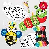 Baker Ross Kits de Punto de Cruz Insectos para Colorear - una introducción al punto de cruz para niños (paquete de 5)