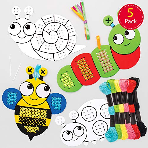 Baker Ross Bug Color in Cross Stitch Kits (5 Pack) Sewing Arts and Crafts for Children