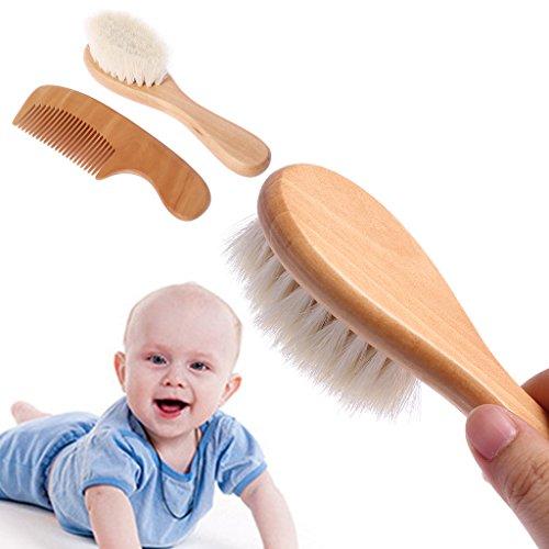 Manyo 1 Satz Babykamm Babybürste Kamm Haar Kopf Massage Holzgriff Wolle Neugeborenen Kinder Pflege Kit