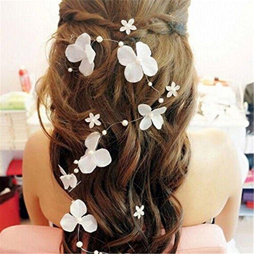 Moda Mujer flexible sintética Pearl flores boda novia diadema pelo pins Tiara...