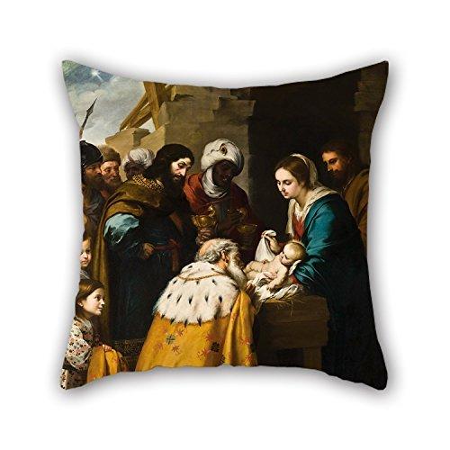 N / A Pintura al óleo Bartolom & Atilde; & Copy; Esteban Murillo - Fundas de cojín Adoration of The Magi, Ideales para el hogar, niños, niñas, Navidad, cumpleaños, Sala de Estar (Cada Lado)