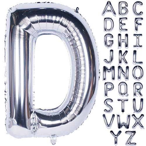 Letter Balloons 40 Inch Giant Jumbo Helium Foil Mylar for Party Decorations Silver D