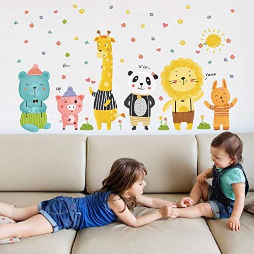 TIVOPA Bande Dessinée Enfant Amusant Animal Sticker Mural Enfants Cadeau Kitty Pig Girafe Lion Panda Enfants Chambre Chambre Décor DIY Amovible Stickers