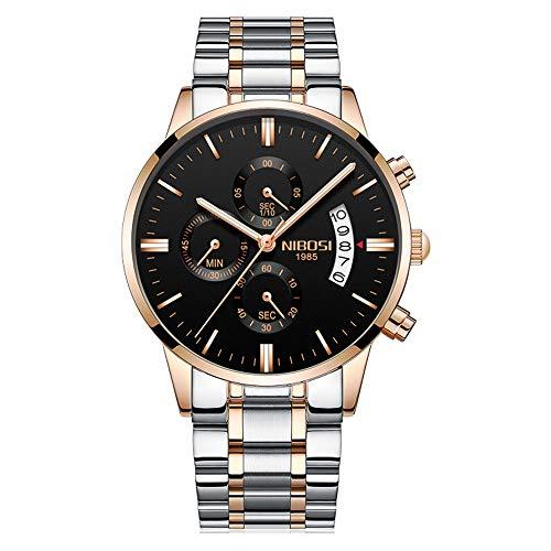 Relojes Hombre Cronógrafo Reloj de Pulsera Calendario con Correa de Acero Inoxidable Elegante, Oro Rosa-Plateado
