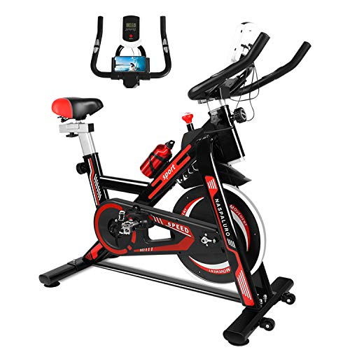 Naspaluro Exercise Bike, Stationary Bikes for Exercise & fitness Home Gyms,Peloton Spin Bike with Adjustable Seat&Handlebar/Phone Holder/Heart Moniter/LCD Monitor