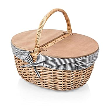 Picnic Time Country Picnic Basket with Navy/White Striped Liner