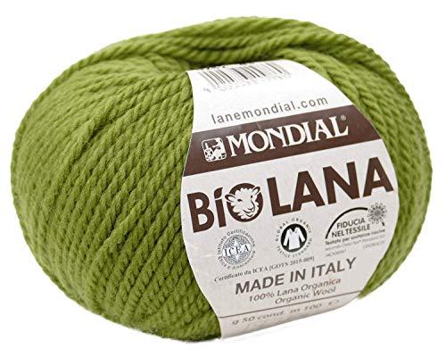 BioLana Naturwolle Farbe 282 moos, organic wool, Biowolle, reine Schurwolle zum Stricken und Häkeln